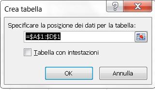 Finestra Excel per creare un tabella