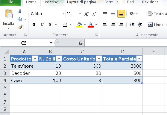 Tabella Excel